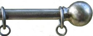 Ball and Collar curtain pole in Pewter finish