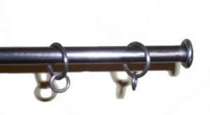 Button curtain poles in pewter
