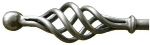 ossian cage wrought iron curtain pole in pewter finish