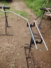 Large 16mm Bay window pole. Pewter finish. Outside workshop