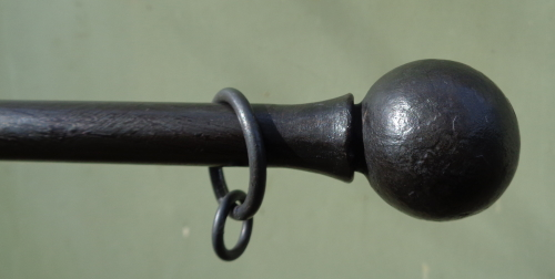 Flared Ball Curtain pole with Beeswax finish